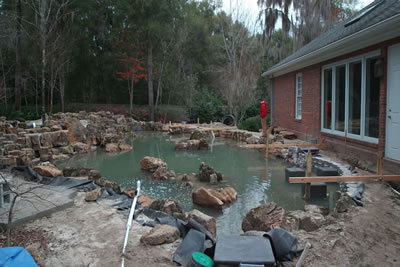 Koi Pond Gainsville Florida Construction Looking East