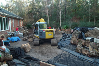 Koi Pond Gainsville Florida Construction Looking West