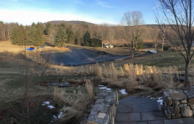 West Alford Massachusetts 1 acre pond, liner being installed